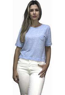 Camiseta Em Malha Podrinha E Bolsinho Hifen Azul - Kanui