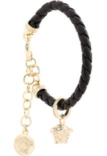 Versace Bracelete 'Charm' De Couro Trançado - Preto
