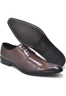Sapato Social Reta Oposta Couro Masculino - Masculino-Preto