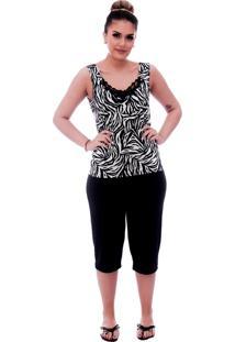 Baby Doll Ficalinda De Blusa Alça Estampa Animal Print De Zebra Com Renda Gripir Preta No Decote E Bermuda Midi Preta.