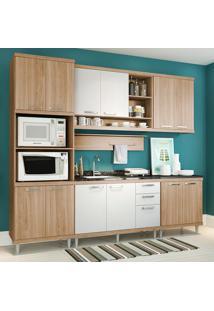 Cozinha Compacta Sem Tampo 12 Portas 5814 Argila/Branco - Multimóveis