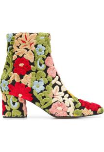 Etro Ankle Boot Foral 3D - Preto