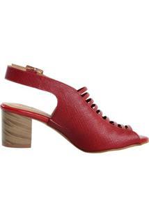 Sandália Em Couro Médio - Feminino-Vermelho