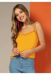 Blusa Com Babado No Decote Amarela