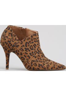 Ankle Boot Feminino Vizzano Estampado Animal Print Onça Bico Fino Caramelo