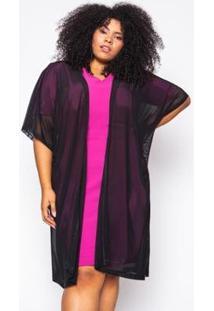 Kimono Almaria Plus Size Alt Brand Tule Feminino - Feminino-Preto