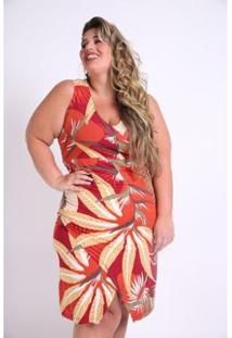 Vestido Kaue Plus Size Folhagem Feminino - Feminino-Laranja