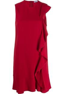 Red Valentino Vestido Sem Mangas Com Babados - Vermelho
