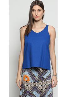 Blusa Em Linho Com Recorte Vazado - Azul Escuro - Lilinho Fino