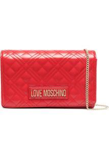 Love Moschino Bolsa Tiracolo Matelassê Com Placa De Logo - Vermelho
