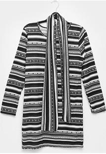 Vestido Ms Fashion Étnico Lã Manga Longa - Feminino-Cinza