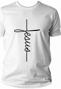 Camiseta Criativa Urbana Jesus Cristã Evangélica Gospel Religiosa Branca