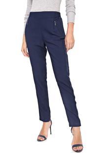 Calça Calvin Klein Slim Faixa Lateral Azul-Marinho