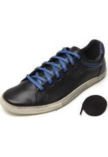 Sapatênis Couro Ellus Slim Classic Preto/Azul