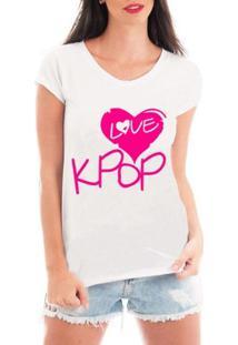 Blusa Criativa Urbana Love Kpop Blusa T Shirt Musicas - Feminino-Branco