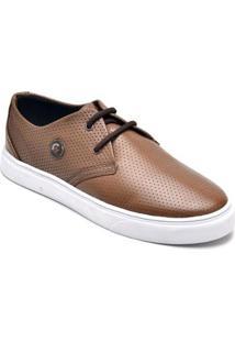 Tênis D&R Shoes Casual Em Couro Masculino - Masculino-Café