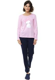 Pijama Longo Rosa Com Algodão Feminino Adulto Luna Cuore