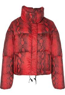 Apparis Snakeskin Print Puffer Jacket - Vermelho
