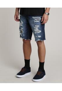 Bermuda Jeans Masculina Slim Destroyed Azul Escuro