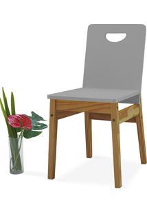 Cadeira Jantar Tucupi 40X51X81Cm - Acabamento Stain Nózes E Cinza Concreto