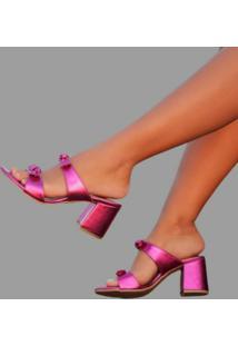 Sandália Delazari Salto Bloco Pink Metalizado Com Laço