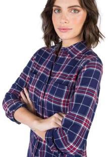 Camisa De Tecido Xadrez Taco Feminina - Feminino-Marinho+Vermelho