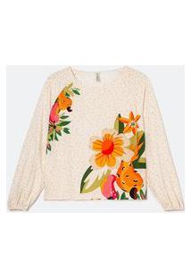 Blusa Bata Manga Longa Em Viscose Com Estampa De Flores E Cajus