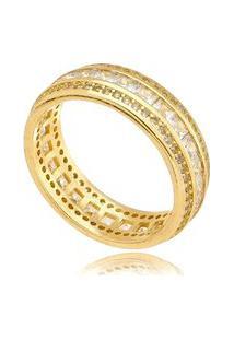 Anel Três Fileiras Gazin Micro Zircônia Banhado A Ouro 18K - Ouro - 18 Dourado
