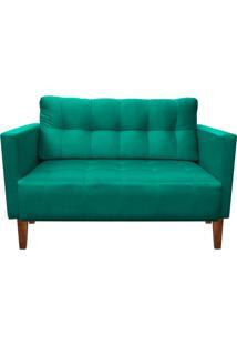 Sofá Retrô Namoradeira 2 Lugares Lívia Suede Verde Tiffany - D'Rossi