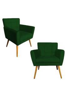 Kit 02 Poltronas Decorativas Onix Suede Verde - Ds Móveis