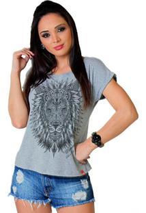 Camiseta Tee Wevans Leão Tattoo Cinza