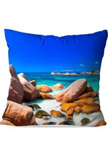 Capa De Almofada Avulsa Decorativa Praia Cristalina 45X45Cm