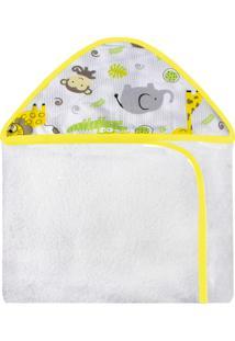 Toalha De Banho C/ Capuz Estampado Laura Baby Safari Amarelo
