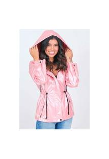 Jaqueta Parka Nylon Metalizada Rosa Pop Me