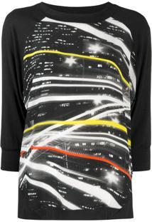 Ultràchic Blusa De Tricô Com Estampa Gráfica - Preto