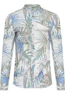 Camisa Masculina Californian Palms - Verde E Azul