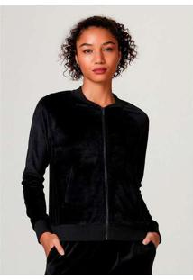 Jaqueta Feminina Em Plush Com Modelagem Bomber Pre