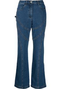 Paloma Wool Calça Jeans Com Recorte Pespontado - Azul
