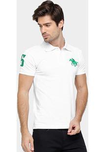 Camisa Polo Rg 518 Piquet Bordado Contraste Color - Masculino-Branco