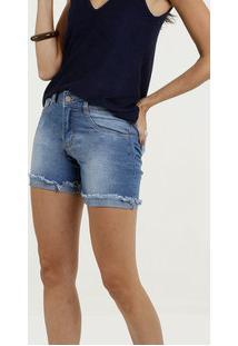Bermuda Feminina Jeans Barra Dobrada Desfiada Biotipo