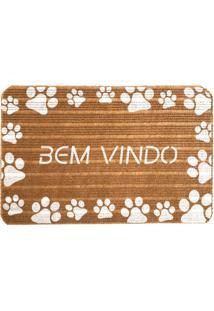 Capacho Carpet Bem Vindo Com Patinhas Brancas Marrom Único Love Decor