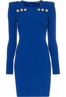Balmain Vestido Com Decote Quadrado Mini - Azul