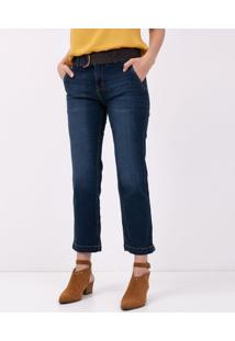 Calça Jeans Reta Com Cinto E Fivela