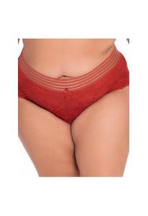 Calcinha Click Chique Biquíni Plus Size Renda Sexy Laranja