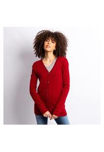 Cardigan Tricot Feminino Liso Com Botões Vermelho