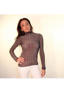 Blusa Coolest Animal Print Estampa Dupla Face Feminina - Feminino-Marrom