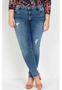 Calça Cigarrete Jeans Plus Size Com Puídos