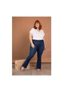 Calça Jeans Flare Cintura Média Plus Size Azul Escuro