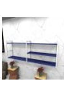 Estante Estilo Industrial Sala Aço Cor Branco 180X30X68Cm (C)X(L)X(A) Cor Mdf Azul Modelo Ind38Azsl