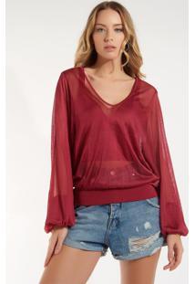 Blusa Rosa Chá Brilhantes Tricot Vermelho Feminina (Ketchup, Gg)
